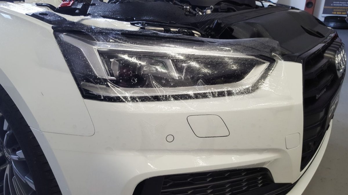 Audi A5 Oklejenie Dachu Czarny Połysk + Zabezpieczenie Lamp PPF