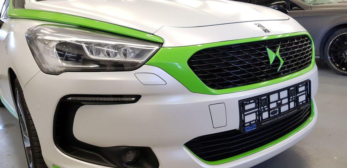 CITROEN DS5 Zmiana Koloru – Satin Pearl White + Apple Green Stellar