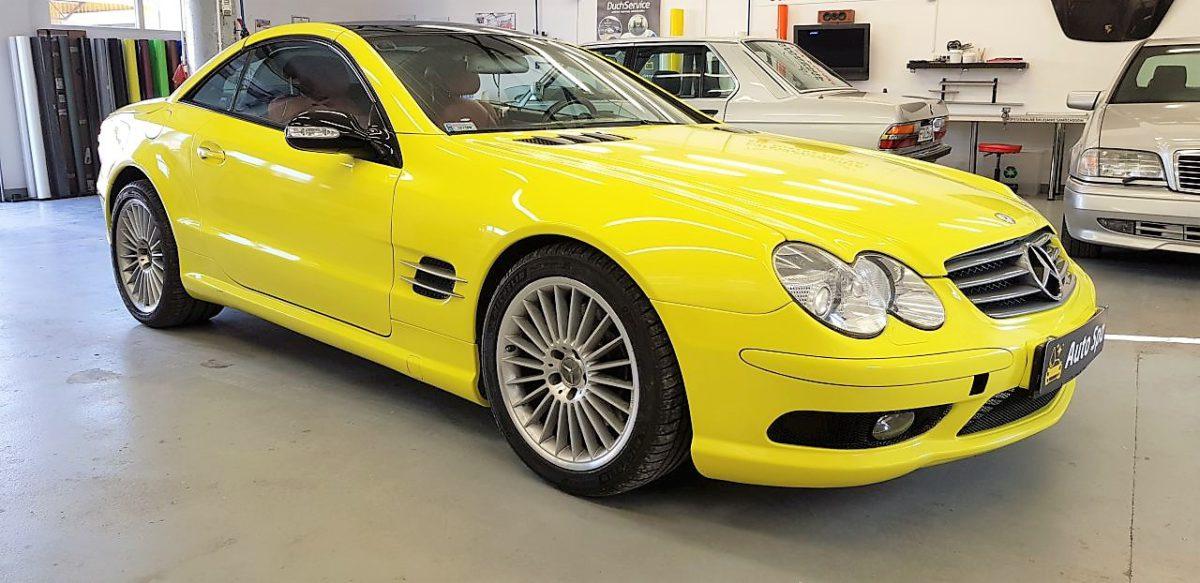 Mercedes SL Naprawa Blacharsko Lakiernicza + Zmiana Koloru Gloss Yellow + Detailing Całości